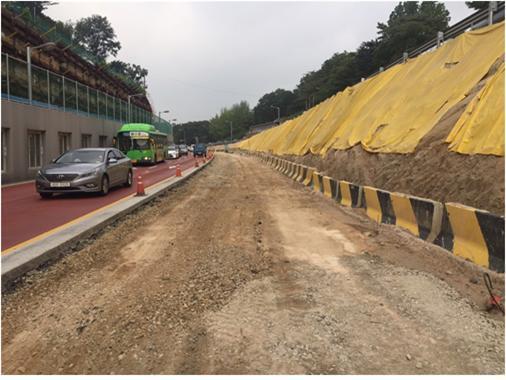 율곡로(창경궁앞) 도로구조 개선사업 중앙부 토공정리구간 전경